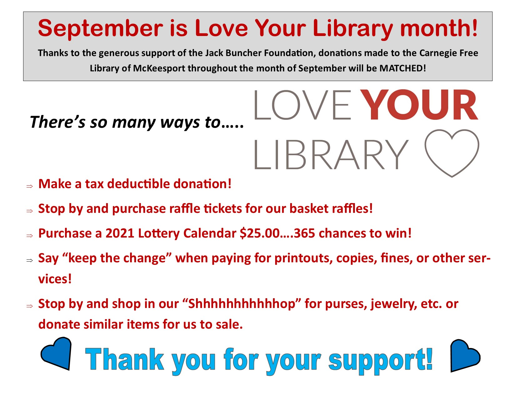 Read more about the article September is Love Your Library Month!
